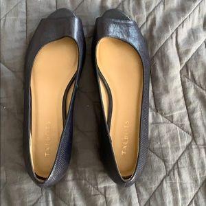 Navy blue leather peep toe flats
